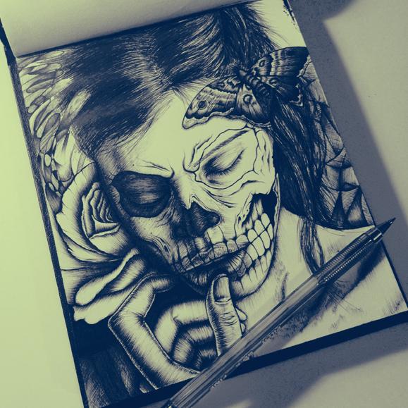 Skull Girl by Ricardo Ajcivinac